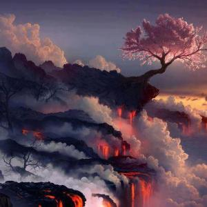 Cherry Tree and Lava